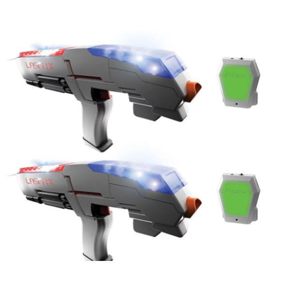 Laser X reprezinta o experienta cu totul noua si interesanta in materie de jocuri E ca si cand ai avea propria arena la tine acasa Laser X imbina tehnologia cu cele mai noi lucruri in materie de soft astfel ca jucatorii pot sa tinteasca pana la 60m Vesta are un receiver special care tine scorul Dupa ce ai fost lovit de 10 ori ai fost eliminatLaser X poate fi jucat fie pe echipe fie poate fi setat pe modul rogue unde fiecare jucator e pe cont propriu Partea