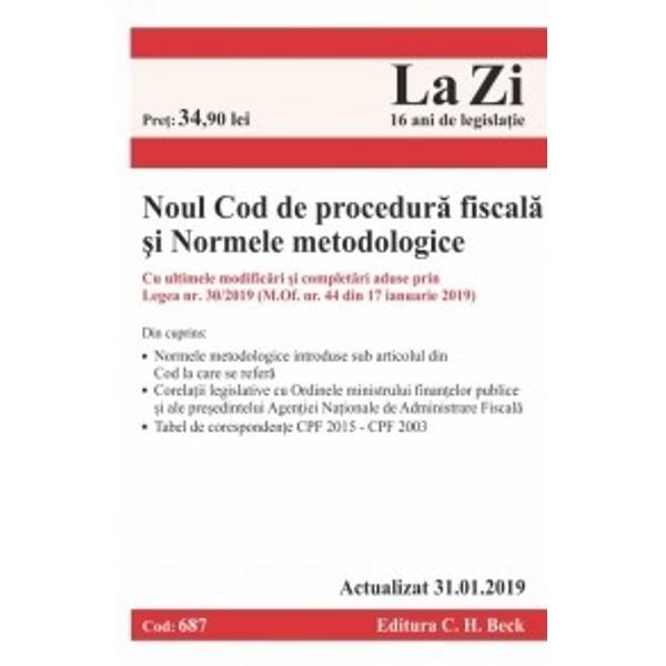 Normele metodologice de aplicare a Codului de procedur&259; fiscal&259; constau în Ordine ale Ministerului Finan&539;elor Publice Agen&539;iei Na&539;ionale de Administrare Fiscal&259; &537;i ale altor autorit&259;&539;i cu abilit&259;&539;i în domeniu ce au ca atribu&539;ii elaborarea de acte normative pentru aplicarea unitar&259; a legisla&539;iei fiscale &537;i procesual fiscale pe m&259;sura identific&259;rii