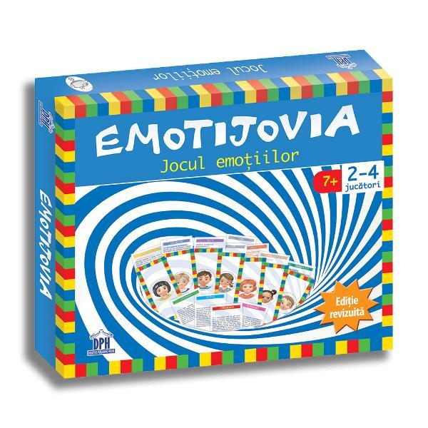 """Dup&259; ce primul tiraj din Emotijovia – cel mai distractiv &537;i educativ joc despre emo&539;ii – s-a epuizat în scurt timp ne-am gândit s&259; venim cu un upgrade Emotijovia r&259;mâne acela&537;i joc amuzant dar provocativ totodat&259; care î&537;i pune juc&259;torii în situa&539;ia de a rezolva probleme emo&539;ionale pe 4 perioade ale vie&539;ii pentru a ajunge la titlul de """"Maestru al emo&539;iilor"""" Dar pe"""
