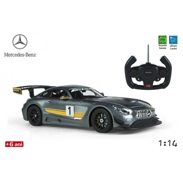 Masina Mercedes AMG GT Performanceeste o jucarie pentru baieti care imita pana in cele mai mici detalii masina Mercedes Modelul elegant si aerodinamic confera unicitate jucariei printre jucariile de gen Aceasta poate aduce ore nelimitate de amuzament copiilor pasionati de viteza si masiniMasina include o radiocomanda facuta pentru cei mici usor de