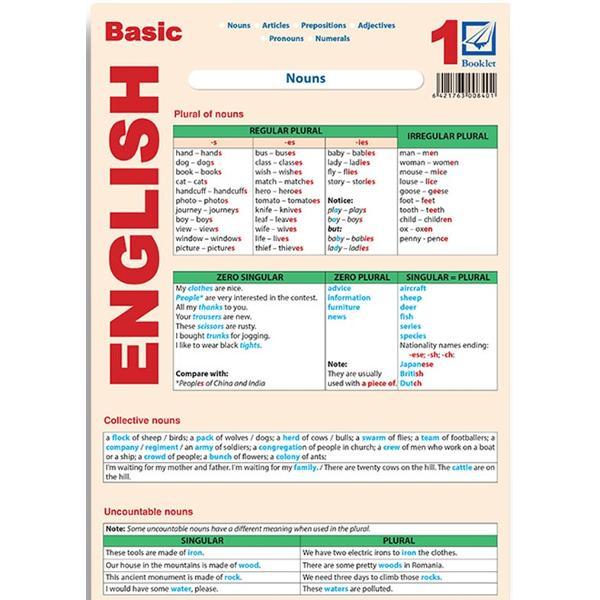 Pliantul con&355;ine no&539;iuni gramaticale de baz&259; despre Substantiv Articol Numeral Pronume &537;i Adjectiv