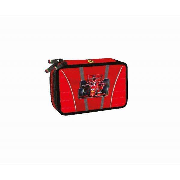 Penar triplu echipat Ferrari rosu&160;Penar cu trei compartimente complet echipate;Dimensiuni 20x14x7 cm;Material Poliester;Culori Rosu cu detalii negre;Recomandat pentru clasele 3-8