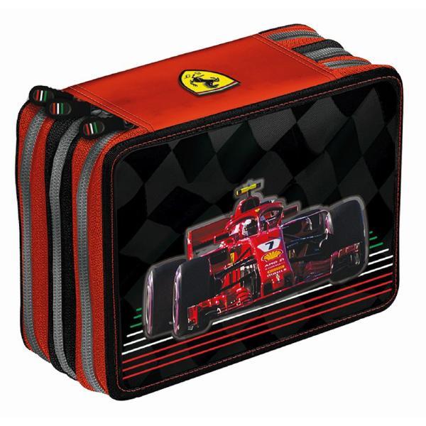 Penar triplu echipat Ferrari negru&160;Penar cu trei compartimente complet echipate;Dimensiuni 20x14x7 cm;Material Poliester;Culori Negru cu detalii rosii;Recomandat pentru clasele 3-8