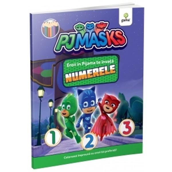 """Cu Bufni&539;a &536;opi &537;i Pisoi numerele pân&259; la zece se înva&539;&259; cât ai zice """"supererou"""" O carte educativ&259; de colorat în care apar personajele serialului animatEroi în Pijama"""