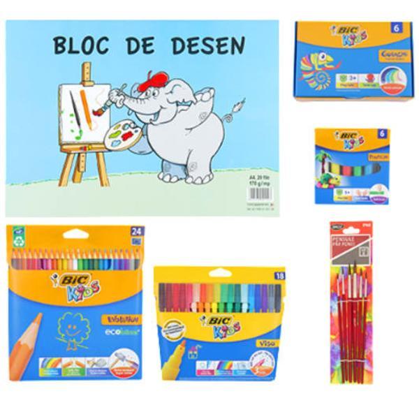 Pachetul contineCreioane colorateMarkere pentru coloratGua&537;eBloc Desen Set 6 pensulePlastilin&259;