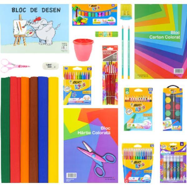 Pachetul contine urmatoarele produseCreioane colorateMarkere Colorate pachet 12 bucCreioane cerate plastifiateCreion grafit cu radieraAscutitoare dubla cu containerRadiera GaletLipici solid BIC ECO 21grAdeziv cu sclipici pentru activitati creativeAcuarele 12 culori pensula inclusaSet de 6 pensulePahar picturaPlastilina