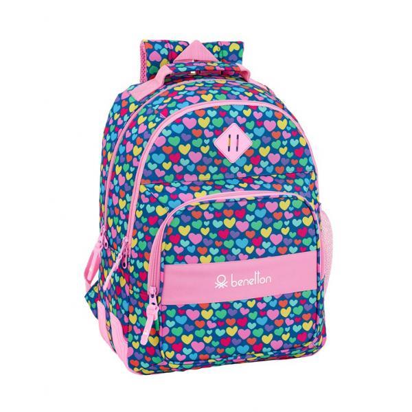 Rucsac dublu scoala Benetton hearts 42 cmDimensiuni 32 x 42 x 15 cm;Material poliester;Trei compartimente;Inchidere cu fermoare;Colturi intarite;Spate buretat;Un buzunar lateral din plasa;Bretele buretate si reglabile;Maner buretat pentru transportul in manaCuloare predominanta roz