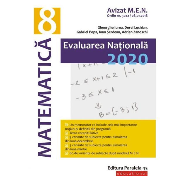 Avizat MEN conform OM nr 30228012018GHIDUL COMPLET DE PREG&258;TIRE A EXAMENULUI DE EVALUARE NA&354;IONAL&258; pentru proba de matematic&259; este &238;n concordan&355;&259; cu programa &351;colar&259; &238;n vigoare &351;i cu toate manualele aprobate de MENUn prim element de noutate care face din acest ghid un instrument extrem de util pentru elevi &351;i profesori &238;l reprezint&259; temele recapitulative &351;i memoratorul
