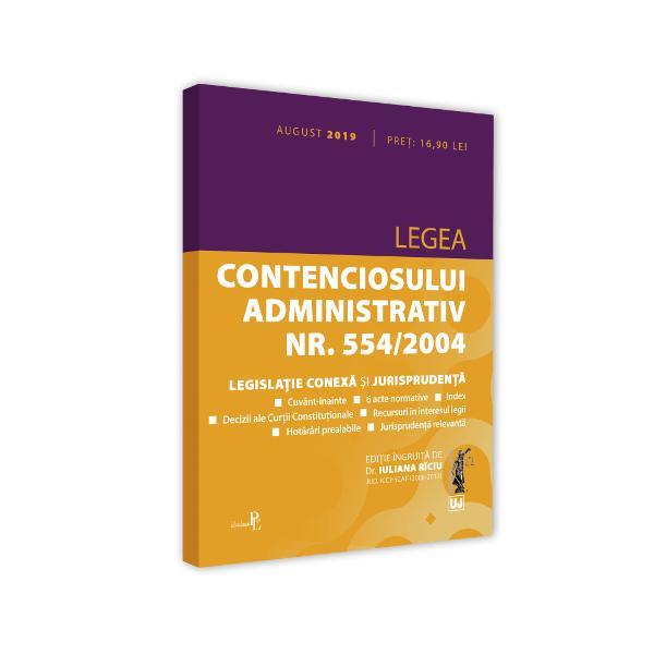Culegerea intitulataLegea contenciosului administrativ nr 5542004 legislatie conexa si jurisprudenta aflata acum la editia a 4-a revizuita a pornit de la realitatea ca actuala reglementare a contenciosului administrativ prin Legea nr 5542004 intrata in vigoare la inceputul anului 2005 reprezinta un veritabil pas inainte si o evolutie a legislatiei in aceasta materieIn contextul dinamic al dreptului european regulile fundamentale impuse la nivel european
