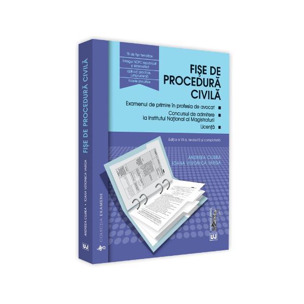 Fi&537;ele de procedura civila au reprezentat inca din 2013 prima lucrare care a abordat intr-o maniera logica &537;i structurata materia dreptului procesual civil Fi&537;ele reliefeaza no&539;iunile esen&539;iale ale procedurii civile permi&539;and asimilarea ideilor &537;i inlan&539;uirea coerenta a acestora intr-un timp optim Tabelele sinoptice &537;i comparative completate la fiecare noua edi&539;ie a lucrarii reprezinta o sinteza pedagogica clara care faciliteaza