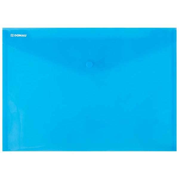 Mapa A4 cu butoncapsa din plastic transparent albastruPlastic 180 microni