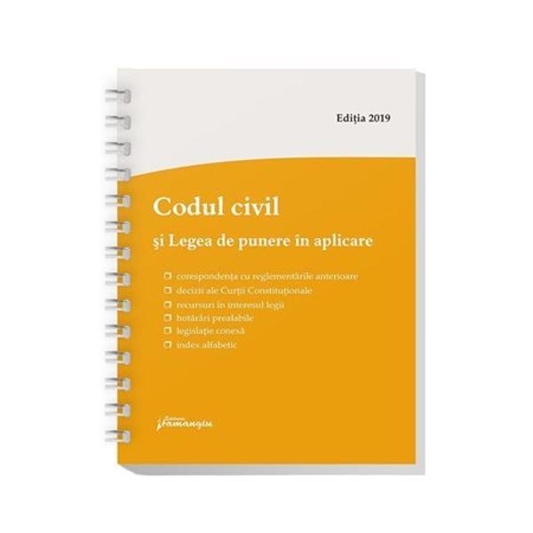 Lucrarea de fata cuprindeCodul civil si Legea de punere in aplicarea acestuia redata in extras Legea nr 712011 contine in mare trei categorii de prevederi 1 dispozitii tranzitorii si de punere in aplicare a Codului civil; 2 dispozitii de modificare si completare a acestuia si 3 dispozitii de modificare si completare a diferitelor legi speciale Dispozitiile de modificare si completare a textelor din Codul civil nu au mai fost redate separat