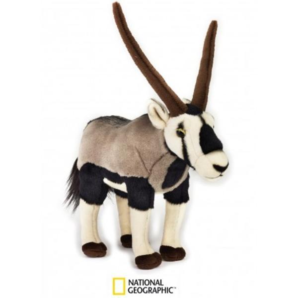 Jucarie din plus National Geographic - Gazela Oryx29cmGazela Oryxface parte dintr-o ramura de antilope de dimensiuni mari care contine 4 specii asemanatoare care toate au habitat in Africa si in Sud-Estul Asiei Speciile acestea de antilipa se recunosc prin coarnele lor distincte si dungile inchise la culoarenegre de pe blana lor