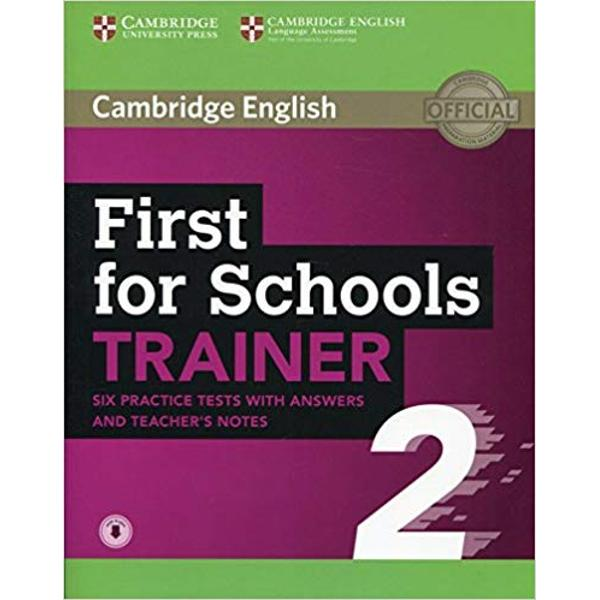 Six full practice tests plus easy-to-follow expert guidance and exam tips designed to guarantee exam success First for Schools Trainer 2 with answers and Teachers Notes with Audio is the perfect companion for Cambridge English First for Schools The first two tests are fully guided with tips and advice on how to tackle each paper Extra practice activities informed by a bank of real candidates exam papers focus on areas where students typically