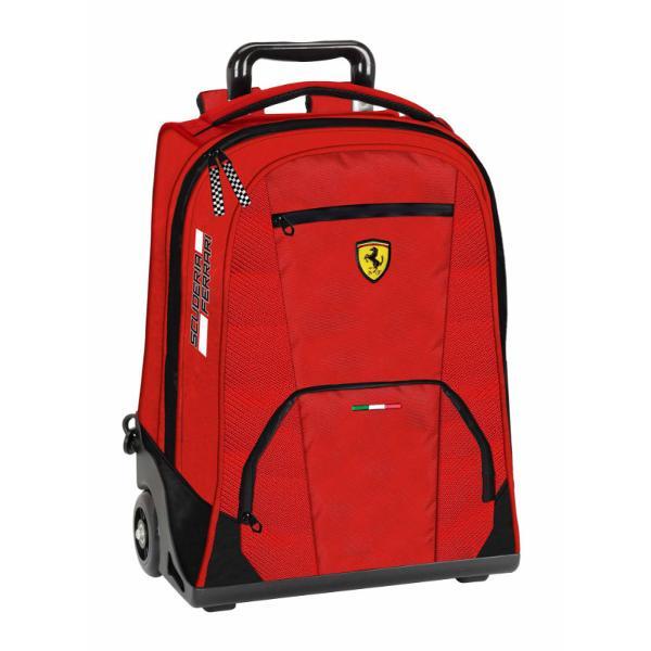 Troler Ferrari voiaj rosu 47 cm&160;rucsac 3 compartimente spatioareinchidere cu fermoarmaterial poliesterculoare Negrudimensiuni 47 x 32 x 10 cmrecomandat pentru clasele 1-8