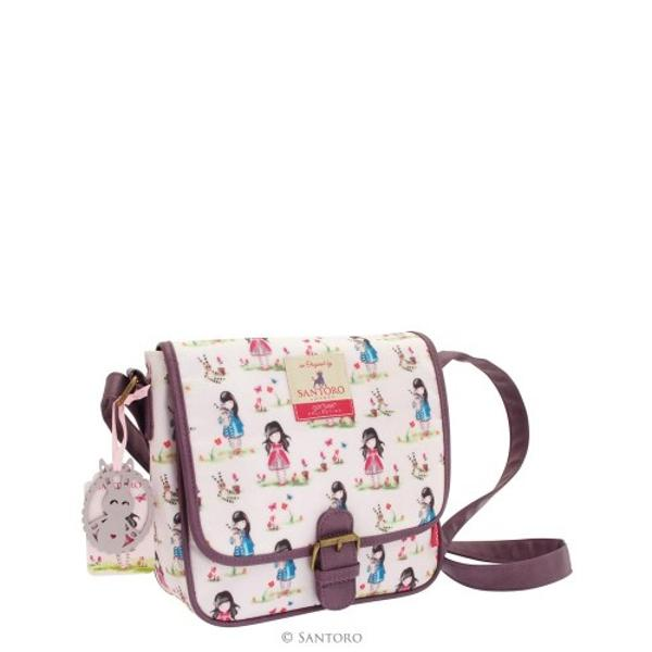 A beautiful day bag perfect for any look With an over the shoulder adjustable strap and leather look buckle finish it has a modern feel complimented by the charming vintage inspired print Featuring Gorjuss artworks and nature inspired elements the pastel pattern sits delicately on a blush pink coating with a