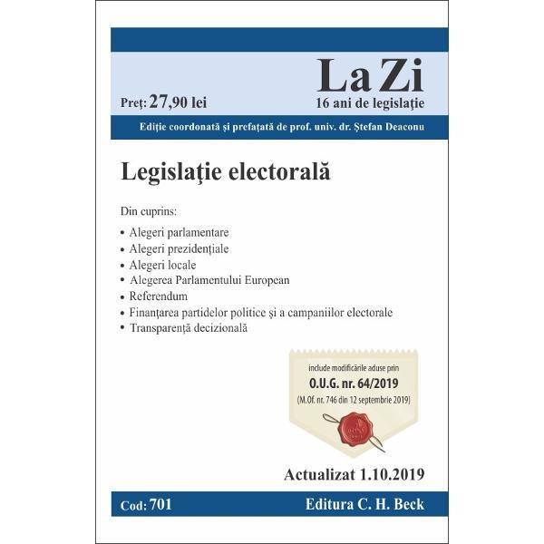 Lucrarea se aseam&259;n&259; unui Cod electoral în cuprinsul ei reg&259;sindu-se întreaga legisla&539;ie electoral&259; aplicabil&259; diferitelor tipuri de alegeri din România Cartea con&539;ine legisla&539;ia la zi aplicabil&259; alegerilor parlamentare alegerilor preziden&539;iale alegerilor locale &537;i celor pentru desemnarea membrilor în Parlamentul European dar &537;i legisla&539;ia privind desf&259;&537;urarea referendumului cea privind