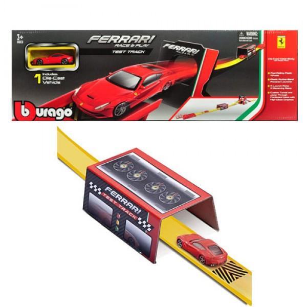 Setul de joaca Ferrari Test Track de la Bburago este alegerea ideala pentru toti baietii pasionati de masinute Acest set Ferrari include o mini model de masinuta Ferrari la scala 164 lansatorul de masini tunelul si cercul prin care masina poate trece pentru a face o multime de cascadorii Descopera nenumarate moduri de distractie cu acesti super set si cheama-ti prietenii sa va jucati impreuna Masinutele BBurago sunt modele in miniatura ale masinilor reale Acestea sunt realizate la