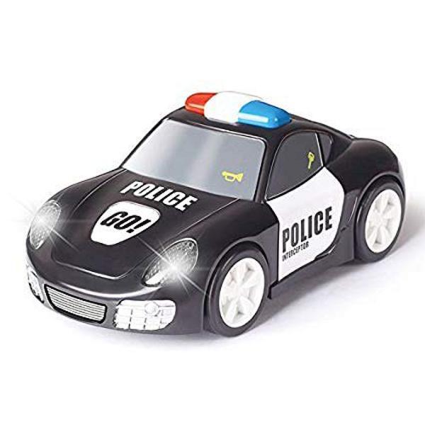 Masina de politie de la Hola Toysnu are timp pentru plictiseala Apasa pe geamul ei si masina incepe cursa Vei auzi sunete de sirena si competitia incepe Masina prinde viteza pe suprafetele netede daca este apasat butonul GO de pe capota Farurile se aprind atunci cand merge Distractia o sa fie in toi cu ajutorul eiDimensiunea produsului este de 17×9×75cmNecesita baterii 2 x AA Bateriile nu sunt
