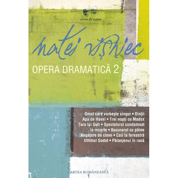 Dup&259; primele &351;ase piese ale lui Matei Vi&351;niec cuprinse în volumul de start al acestei edi&355;ii complete a operei sale dramaturgice tomul al 2-lea reune&351;te celelalte unsprezece texte de gen scrise înainte de plecarea în 1987 din România În Omul care vorbe&351;te singur Din&355;ii Apa de Havel &351;i restul setului pân&259; la P&259;ianjenul din ran&259; registrul de lucru se extinde formulele se
