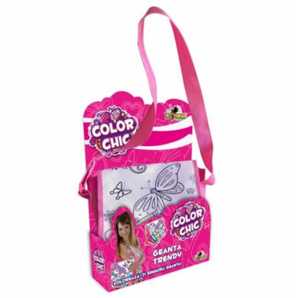 O geanta practica si cu un design placut pe care fetitele o pot colora singure cu markerele incluse Fiecare geanta are specificul si personalitatea ei si apartine unui stil