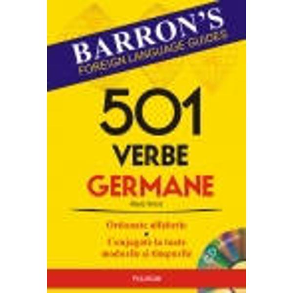 O metoda simpla si dinamica de invatare a verbelor limbii germane   In carte gasiti    501 verbe fundamentale ale limbii germane ordonate alfabetic conjugate la toate modurile si timpurile   Expresii si propozitii cu cele 501 verbe   55 de verbe esentiale ale limbii germane expresii si propozitii cu aceste verbe   Alte verbe care se conjuga dupa modelul celor 501   Un index al verbelor    Un compendiu de gramatica  Pe CD gasiti    Exercitii de completare a propozitiilor cu