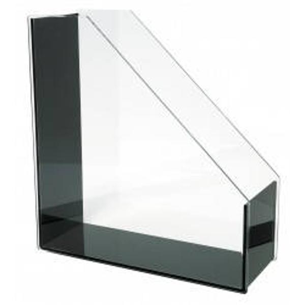 Suport de cataloage vertical  EXCLUSIVE cu un design exclusivist din  acril transparent combinat cu un negru profund Dimensiune produs 262 cm x 95 cm x 284 cm Ambalat intr-o cutie de cadou din carton atractiva Produs de WEDO-Germania
