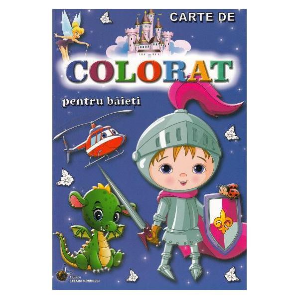 In cartea de colorat baietii si nu numai pot colora animale mijloace de transport in comun dragoni peisaje de iarna meserii fructe sau legume si multe alteleCartea contine desenene de mari dimensiuni cu contur precis usor de colorat