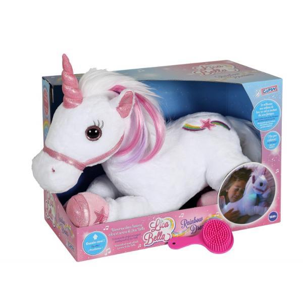Unicorn alb - jucarie din plus cu sunet si lumini 35 cmdimensiune&160;35 cmjucatie de plus cu sunet si luminiaccesoriu - perie pentru unicornfunctineaza cu 3 baterii AAA inclusecand se apasa pe copita unicornului se aprinde in toate culoriile curcubeului si scoate sunete magice De asemenea unicornul are si modul silent&160;