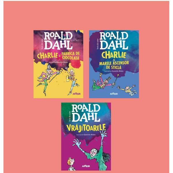 Pachetul contine volumele- Charlie si marele ascensor de sticla- Chalie si fabrica de ciocolata- VrajitoareleCharlie Bucket este înnebunit dup&259; ciocolat&259; Iar Willy Wonka cel mai iscusit inventator din lume deschide por&539;ile uimitoarei sale fabrici de ciocolat&259; pentru cinci copii