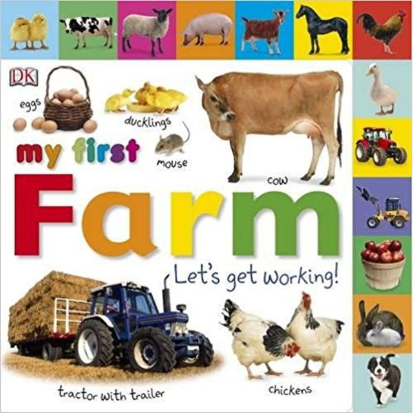 Hands-on fun for you and your toddler as you learn about life on the farm with this tabbed board book from My First With lots of colourful pictures fun-filled questions amazing animals and noisy machines your toddler will love learning about things that work on a farm with this tactile board book You can read it together and help them turn the pages using the easy-grip picture tabs; from counting tractors to finding animals fun questions on every page will help develop early speaking
