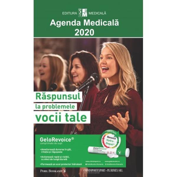 Ca în fiecare an apari&539;ia Agendei medicale este un eveniment editorial mult a&537;teptat Ultima edi&539;ie 2020 îmbun&259;t&259;&355;it&259; &537;i ad&259;ugit&259; cuprinde reactualiz&259;ri privitoare la medicamentele intrate în uz în România înregistrate &537;i eviden&355;iate cu denumirile comerciale DC precum &351;i monografiile aferente la denumirea comun&259; interna&539;ional&259; corespunz&259;toare DCI