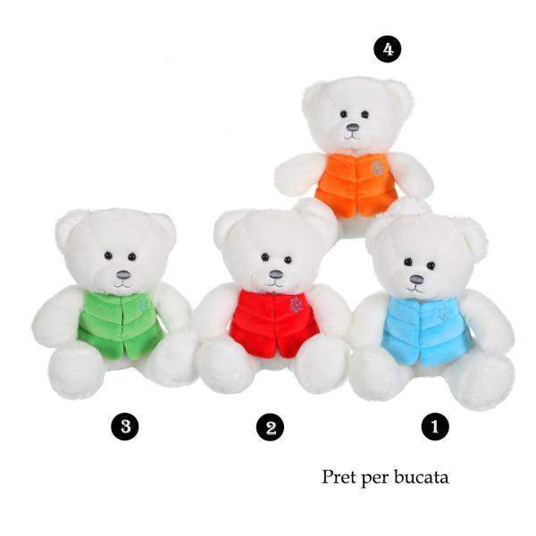 Ursulet alb - jucarie din plus cu vesta 16 cm este jucaria ideala pentru cei mici Realizat din plus si prevazut la baza cu bilute pentru stabilitate ii ajuta pe copii sa isi imbunatateasca creativitatea si imaginatiaAcest ursulet de plus alb poate fi cadoul perfect atat pentru un baietel cat si pentru o fetita Poti alege unul din cele 4 modele de ursuleti disponibili ursuletul este acelasi insa difera culoarea vestei bleu rosu verde sau
