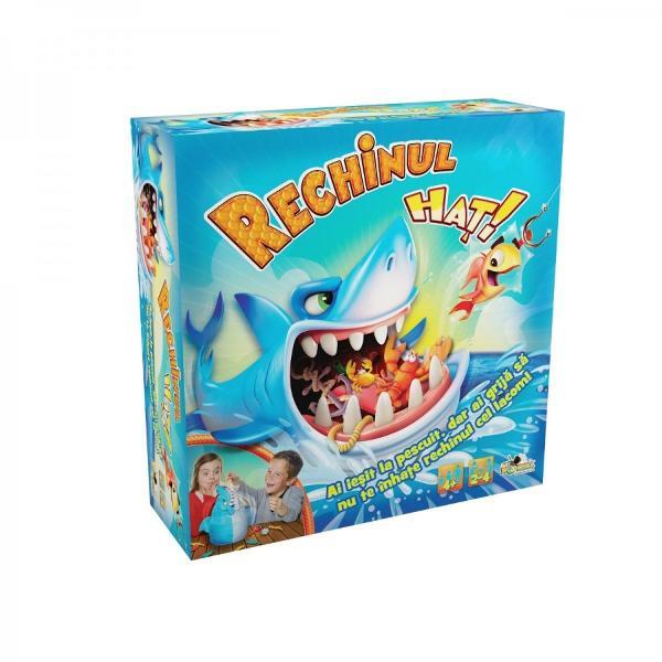 """PentruBaieti FeteVarsta4 - 5 ani 5 - 7 ani 7 - 8 ani  8 aniRechinul Hat a iesit la pescuit si a infulecat totAsa ca acum tu si prietenii tai trebuie sa prindeti pestisorii din gura lui Dar aveti grija ca sare in sus si musca pe neasteptate""""Rechinul Hat"""" este un joc de indemanare pentru 2-4 jucatori in care trebuie sa aduni figurinele pestisori"""