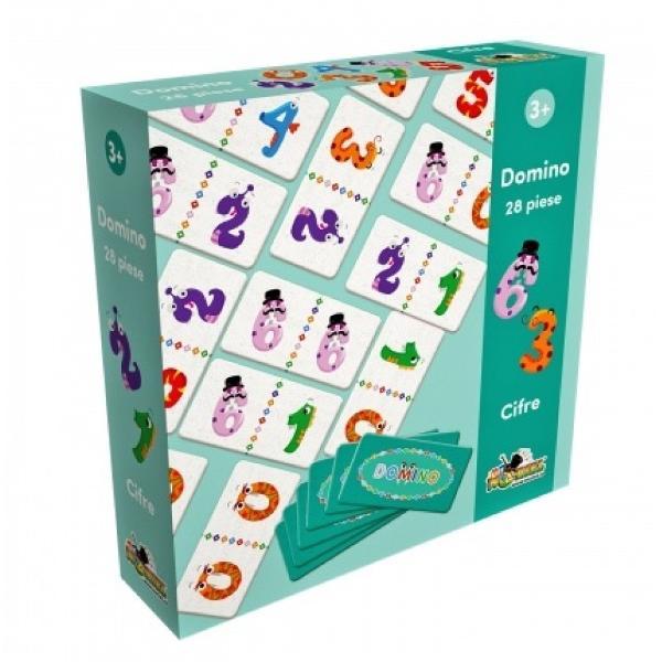 Te crezi istet Si noi la fel Dar acum trebuie s-o si demonstreziPentru asta va provocam pe tine si prietenii tai cu un joc pe cat de vesel pe atat de interesantAcest joc se numeste Domino si se joaca cu 28 de cartonase cu ilustratii pe care trebuie sa le privesti cu mare atentie si sa le potrivesti corect construind un sir voios de cifre monstruleti Cine isi adauga primul toate cartonasele in sir castigaSetul contine28