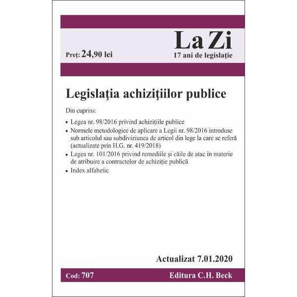 Culegerea cuprinde cele mai importante acte normative din domeniul achizi&539;iilor publice acestea fiind prezentate sub o form&259; cât mai util&259; practicienilor În acest sens redac&539;ia Editurii a integrat Normele metodologice aprobate prin HG nr 3952016 sub articolele respectiv subdiviziunile de articole din Legea nr 982016 la care se refer&259; dar a elaborat &537;i denumiri marginale articolelor pentru facilitarea utiliz&259;rii Aceast&259;