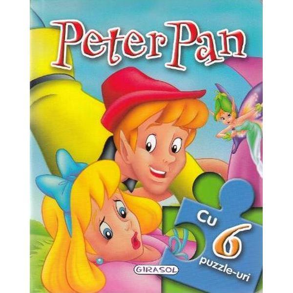 Povestea lui Peter Pan intr-o carte cu 6 pagini frumos ilustrate si 6 puzzle-uri a cate 6 piese fiecareCartea are paginile cartonate