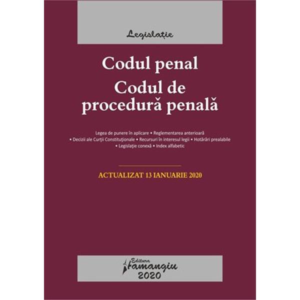 """Codul penal Codul de procedura penala Legile de executarereuneste textele celor doua coduri penale in vigoare si pe langa acestea include si cele doua legi de executare a pedepselor a masurilor privative si neprivative de libertate – Legile nr 253 si nr 254 din 2013 toate actualizate la data de 13 ianuarie 2020 fiind incluse modificarile aduse de Legea nr 2402019 in privinta """"recursului compensatoriu""""Ca toate lucrarile din seria de"""