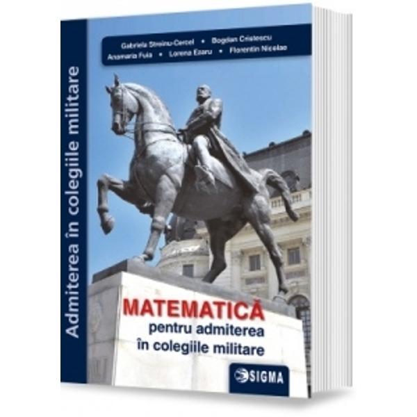 Colectivul care a realizat aceast&259; culegere a dorit s&259; vin&259; în sprijinul elevilor de gimnaziu care î&351;i doresc s&259; devin&259; militari oferindu-le acestora un instrument util de lucru pentru recapitularea fixarea &351;i verificarea cuno&351;tintelor din cadrul disciplinelor matematicii aritmetic&259; algebr&259; geometria plan&259; &351;i geometria în spa&355;iuParcurgerea problemelor din aceasta culegere aduce cu sine