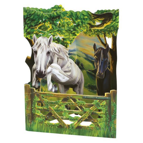 Felicitarea 3D Swing Cards – Caiva incanta privirile tuturor persoanelorcu elementele mobile si culorile viiFelicitarea 3D Swing Cards – cai este compusa din trei planuri printate fata verso care odata deschise iti va prezenta o imagine panoramica iar daca le imbini in forma de triunghi te va minuna cu un efect tridimensional unic Inalta calitate a printului si detaliile de design te vor incanta si te vor invita sa o alegi pentru un