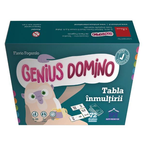 Seria Genius Domino ofer&259; jocuri distractive &537;i didactice care sunt varia&539;ii ale jocului clasic de domino Aceste jocuri sunt excelente pentru sus&539;inerea înv&259;&539;&259;rii &537;i a automatismelor în special în calculele matematice Cele 72 de piese domino pot fi grupate pe niveluri de dificultate astfel încât s&259; pute&539;i organiza u&537;or activit&259;&539;i personalizate Genius Domino -