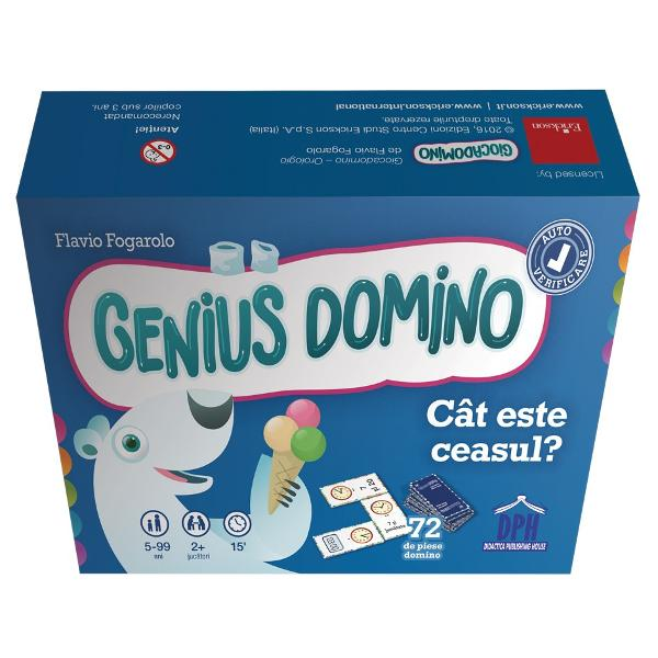 Seria Genius Domino ofer&259; jocuri distractive &537;i didactice care sunt varia&539;ii ale jocului clasic de domino Aceste jocuri sunt excelente pentru sus&539;inerea înv&259;&539;&259;rii &537;i a automatismelor în special în calculele matematice Cele 72 de piese domino pot fi grupate pe niveluri de dificultate astfel încât s&259; pute&539;i organiza u&537;or activit&259;&539;i personalizate Genius Domino - Cât este