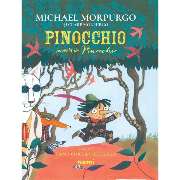 """Ilustra&539;ii deEmma Cichester Clark""""Numele meu e Pinocchio &537;i aceasta e povestea mea Totul a început într-o sear&259; când Gepetto tat&259;l meu care era p&259;durar a venit acas&259; &537;i i-a spus mamei «Iat&259; ce am creat e b&259;ie&539;elul la care visam pe care ni l-am dorit dintotdeauna»&536;i acela eram eu Pinocchio""""Cartea reia în stilul cu care"""