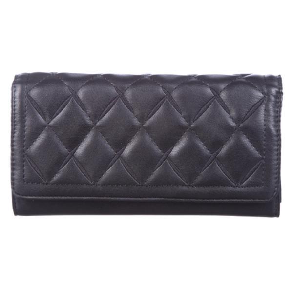 Portofel de dama cu inchidere cu magnetLa interior portofelul are 3 compartimente si un buzunar cu fermoar pentru monede