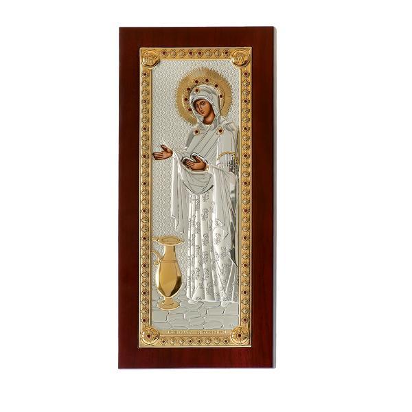 In fiecare casa trebuie sa existe o icoana Cea care trebuie sa fie obligatoriu prezenta este Sporul Casei o icoana frumoasa colorata lucrata pe un suort metalic acoperit cu un strat de Argint Imaginea icoanei este una foarte placuta culorile asortandu-se gratios Dimensiuni 5x9 cmIn popor i se spune Sporul CaseiOriginara din Grecia de la manastireaPantocrator icoana poarta numele de Maica Domnului