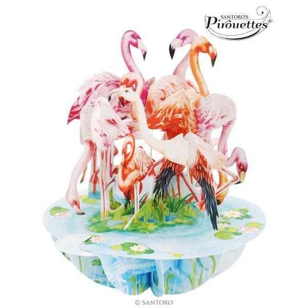 Felicitarea 3D Pirouettes Santoro-Flamingo iti va fascina prietenii prin conceptul inovator care redao imagine tridimensionala foarte complexa Cu o paleta cromatica eleganta de roz albastru ciel si verde smarald felicitarea din editia limitata de felicitari 3D Pirouettes de la Santoro London se deschide prin simpla miscare a manerului spre stanga in jurul bazei De asemenea baza prezinta un camp special dedicat personalizarii prin mesaj pentru ca gandurile