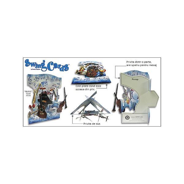 Felicitarea 3D Swing Cards – Petrecerea animalelor va surprinde toate privirile prin modul in careeste realizata cat si prin culorile vesele si viiFelicitarea 3D Swing Cards – Petrecerea animalelor reda o imagine panoramica atunci cand planurile laterale printate fata verso sunt larg deschise si un efect tridimensional cand le vei imbina in forma de triunghi Iti poti exprima gandurile in campul special pentru mesaj de