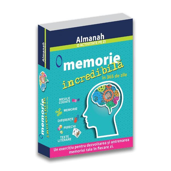Un exerci&539;iu pentru dezvoltarea &537;i antrenarea memoriei tale în fiecare zi Antreneaz&259;-&539;i în fiecare zi creierul &537;i memoria cu exerci&539;iile &537;i jocurile din acest calendar memoreaz&259; fotografii simboluri &537;i texte decodeaz&259; mesaje sau dezleag&259; mistere Practic Acest calendar con&539;ine un suport care v&259; va permite s&259;-l pozi&539;iona&539;i ca pe un &537;evalet precum &537;i