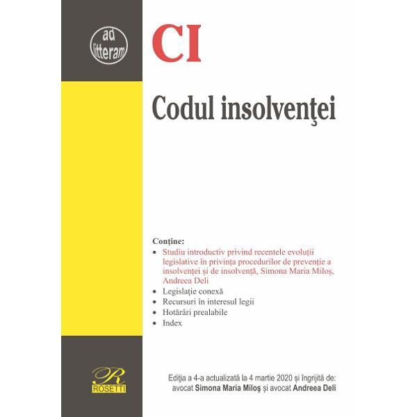 Lucrarea de fata contine un studiu introductiv privind recentele evolu&355;ii legislative în privin&355;a procedurilor de preven&355;ie a insolven&355;ei &351;i de insolven&355;&259;