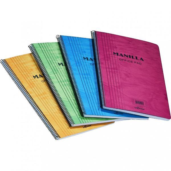 Caiet cu spira metalica simpla 90 file hartie alba de 60 gmpCoperti din carton diverse culori